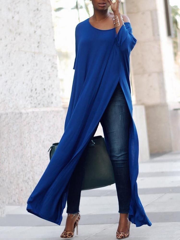 Joyshoetique coupon: Stylish Solid High Slit Casual Blouse