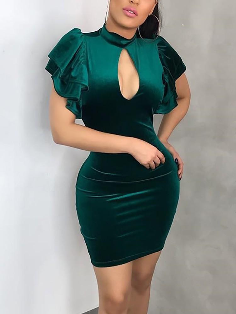 Cutout Front Layered Ruffles Bodycon Dress