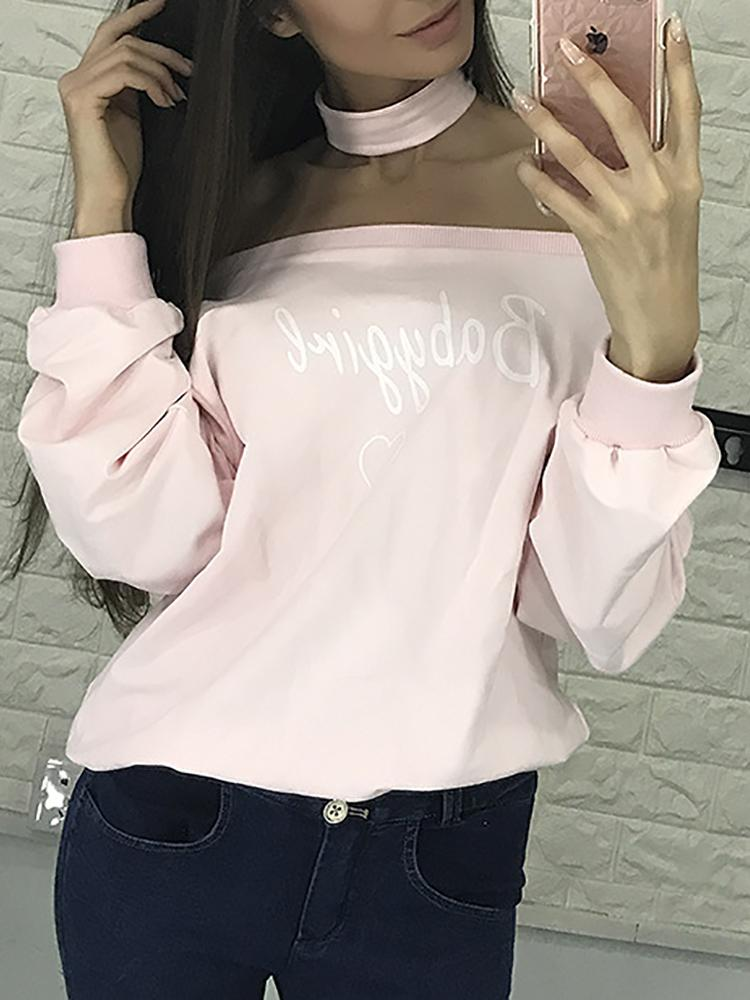 Sexy Off Shoulder Choker Casual Sweatshirt