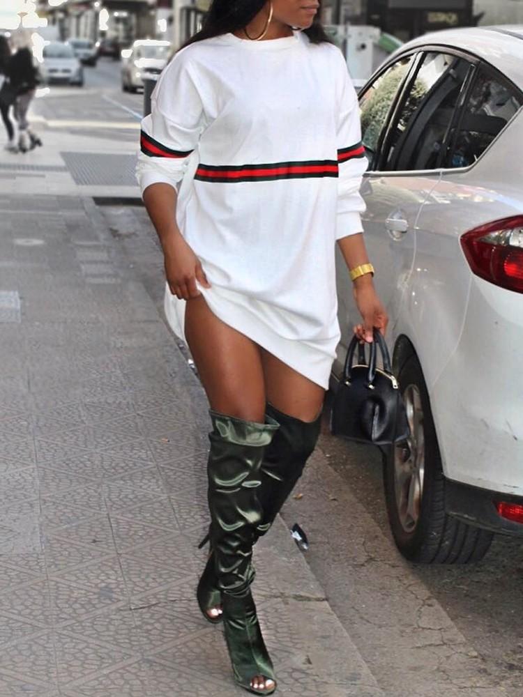 Contrast Stripe Print Long Sleeve Sweatshirt Dress