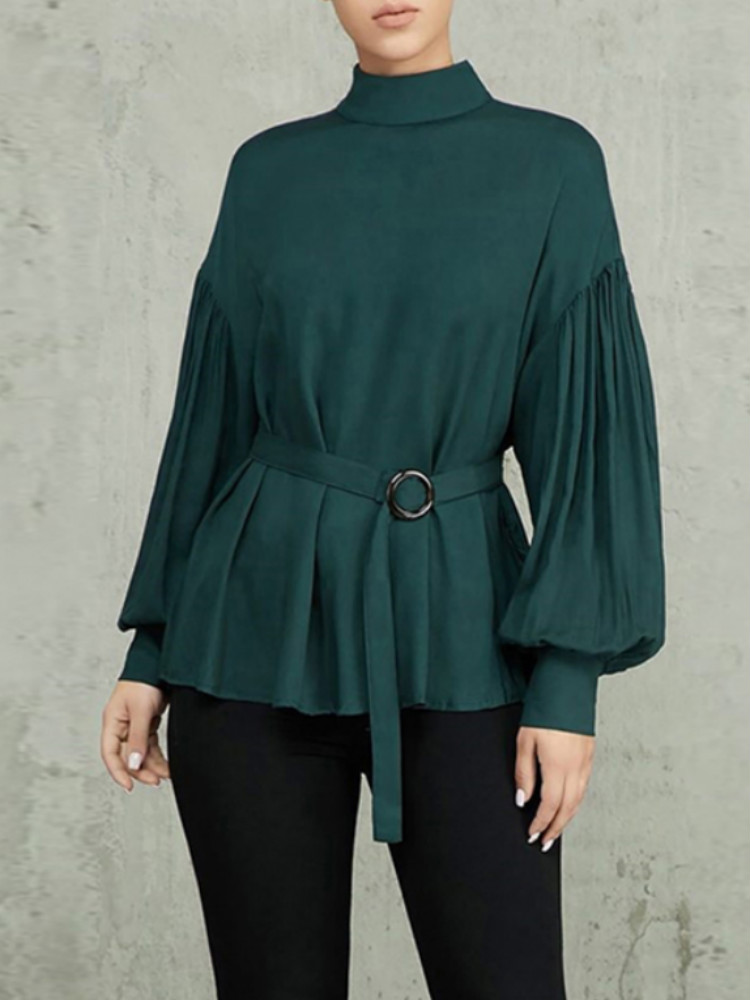 Puff Sleeve Mock Neck Belted Blouse