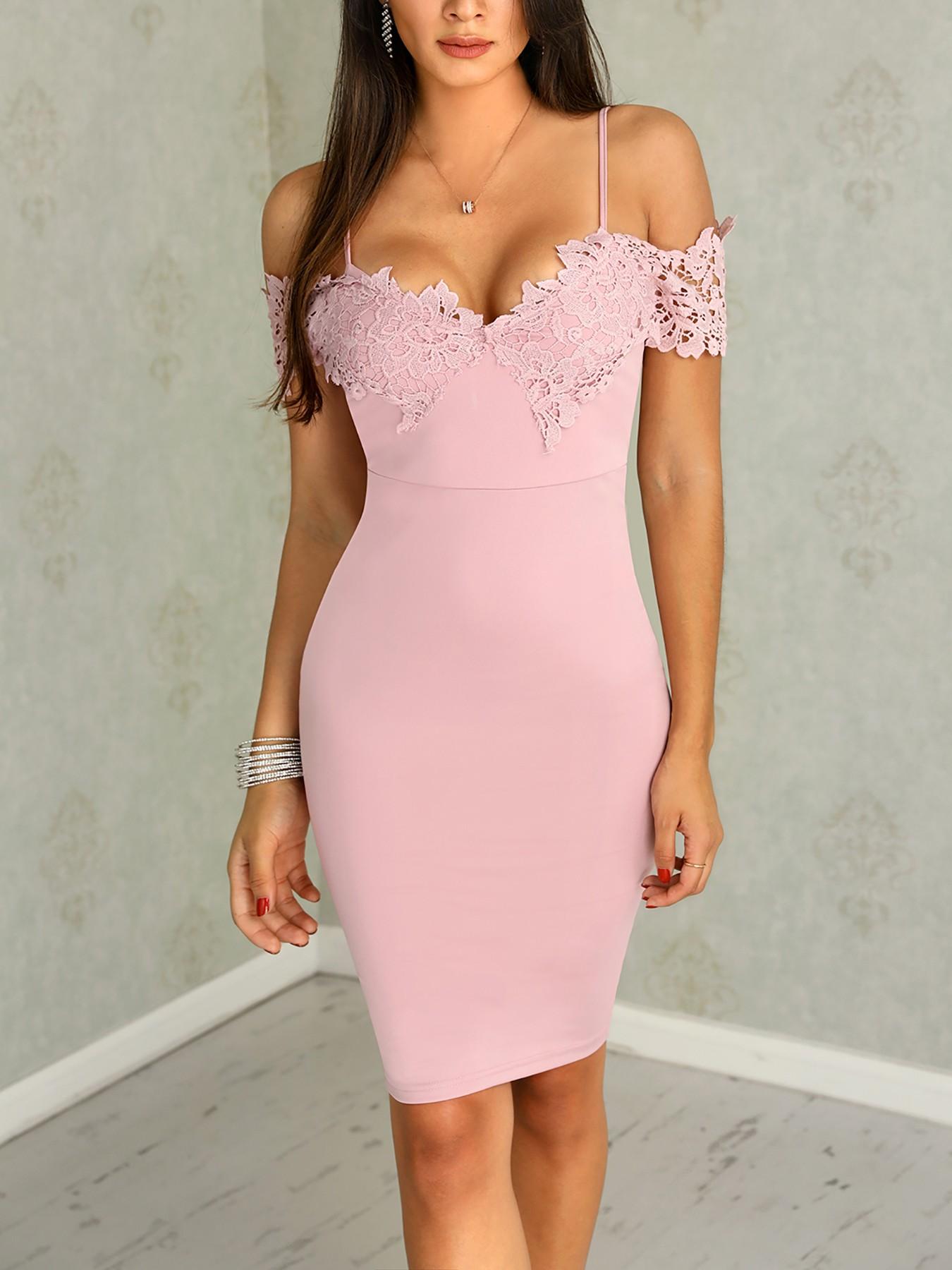 boutiquefeel / Crochet Lace Insert Spaghetti Strap Midi Dress