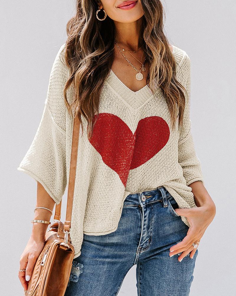 Batwing Sleeve Heart Pattern Long Sleeve Knit Sweater