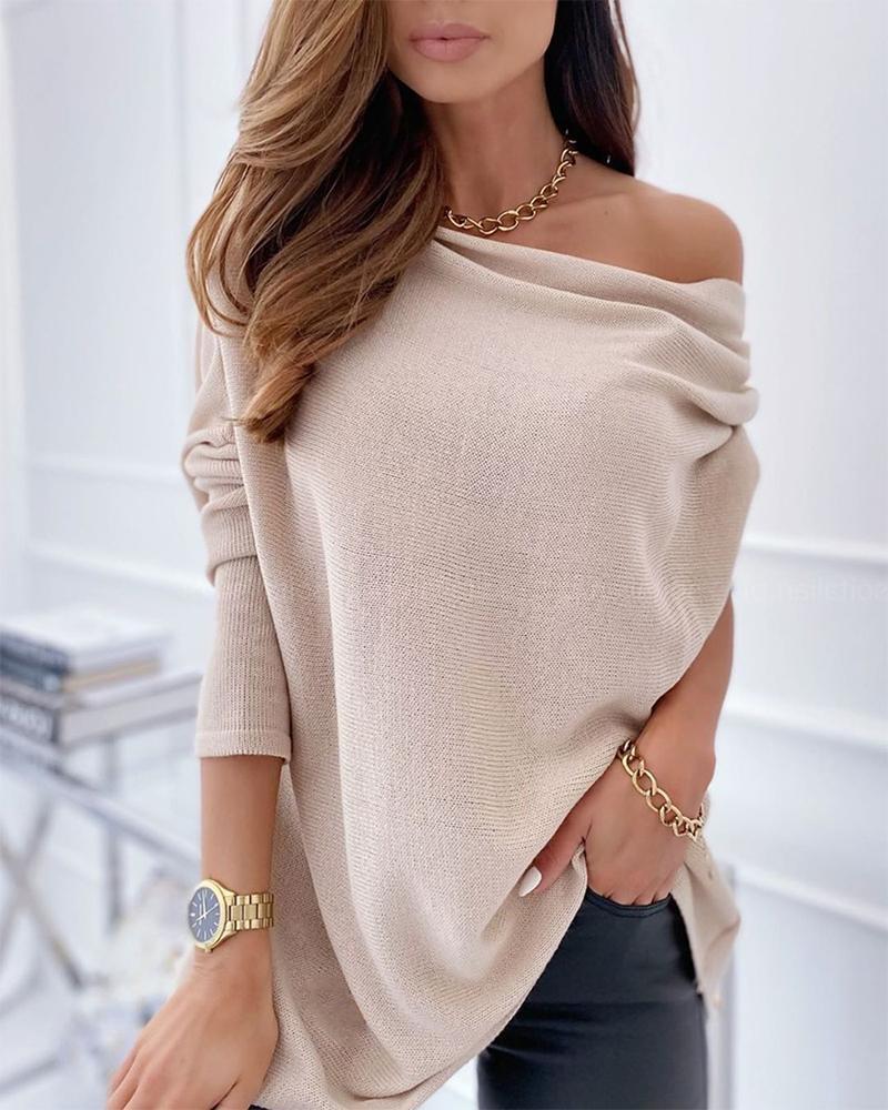 Plain Long Sleeve Loose One Shoulder Blouse thumbnail