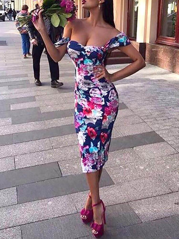Fashion Floral Print Off Shoulder Bodycon Dress