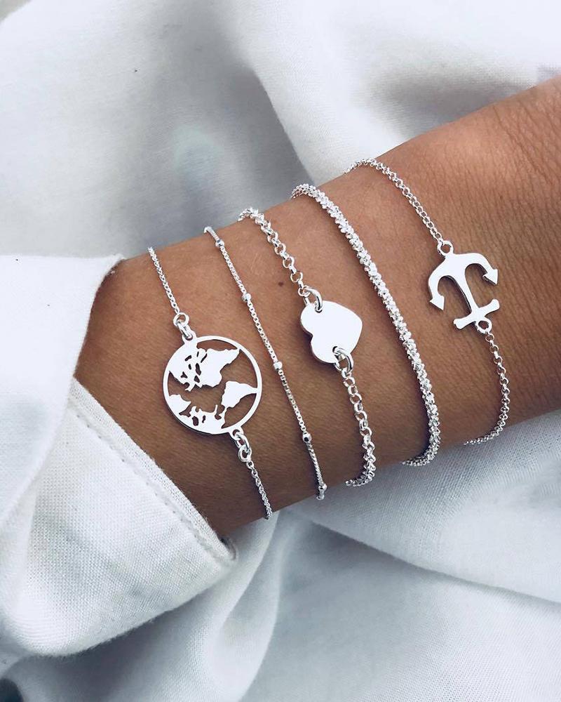 Heart & Boat Anchor Pattern Layered Bracelets thumbnail