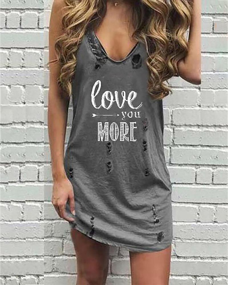V-neck Letter Print Hollow Out Casual Dress thumbnail