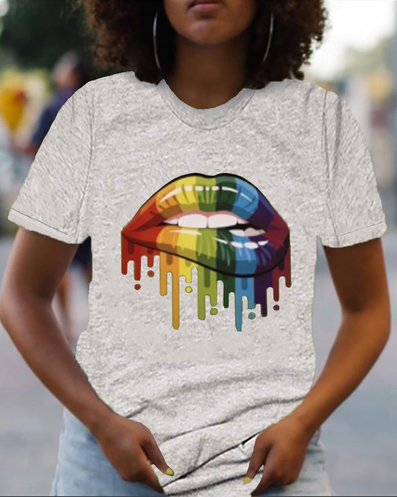 Lip Print Colorblock Short Sleeve Casual T-shirt thumbnail