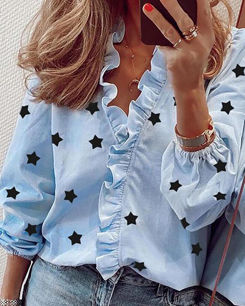 V-neck Stars Print Ruffles Shirt thumbnail