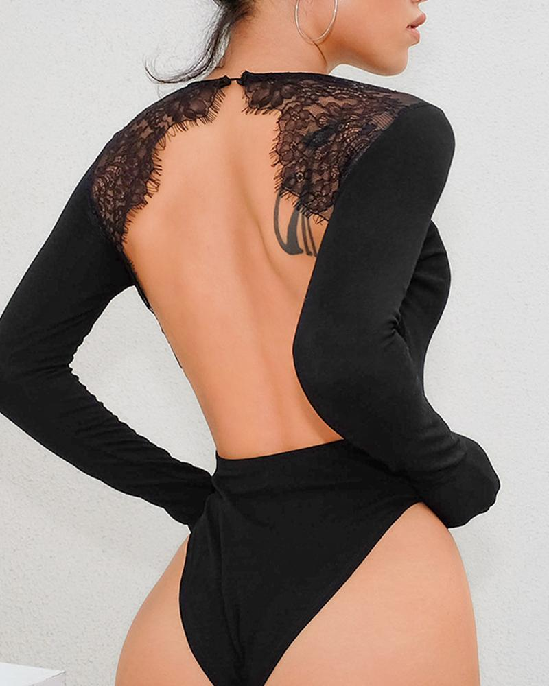 Solid Lace Cut-out Backless Long Sleeve Bodysuit thumbnail