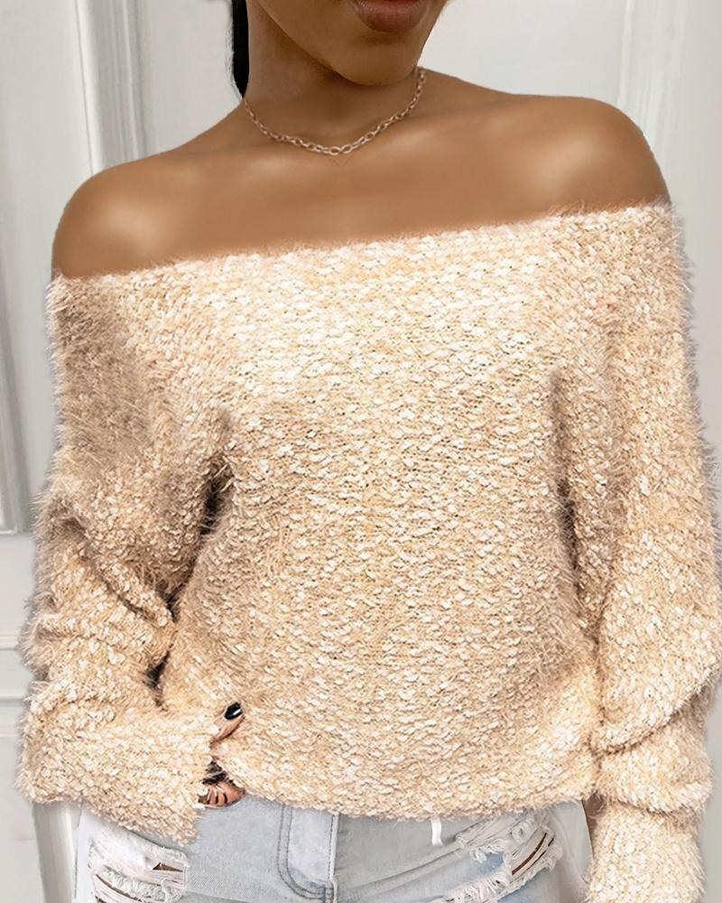 Off Shoulder Fluffy Long Sleeve Sweater thumbnail
