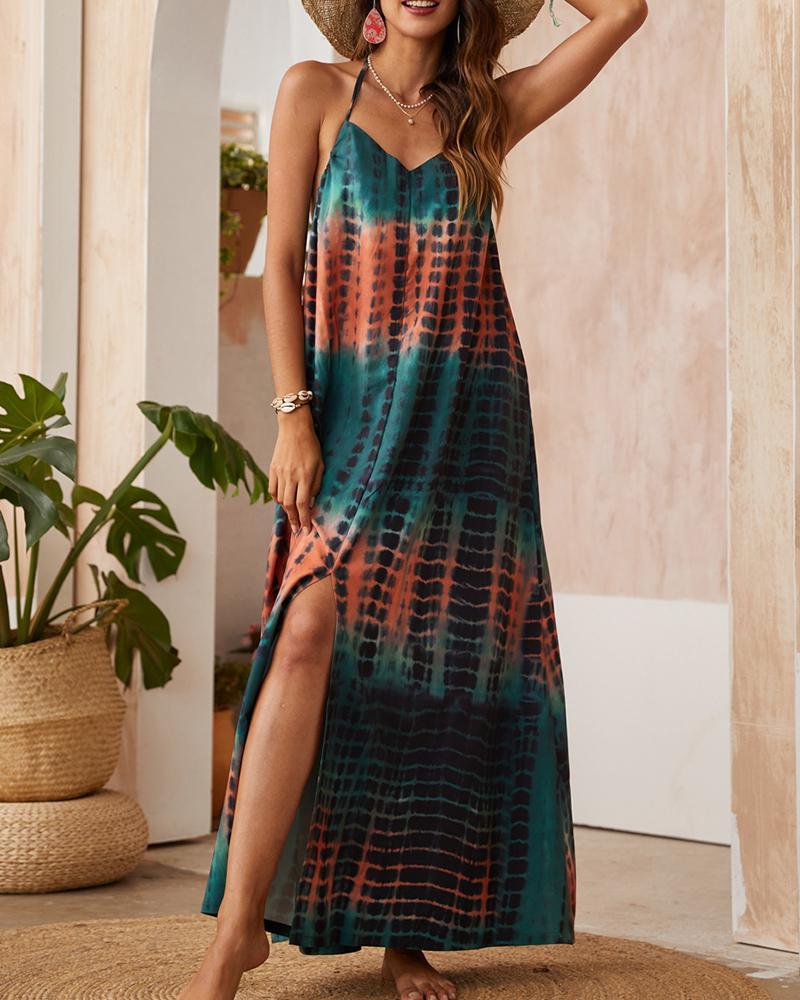 Tie Dye Strap Loose Boho Long Dress