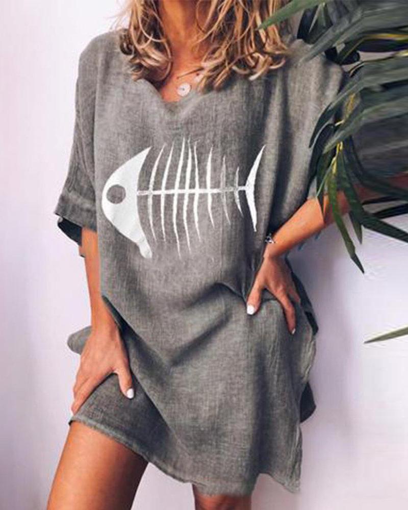 Fishbone printed round neck loose casual T-shirt thumbnail