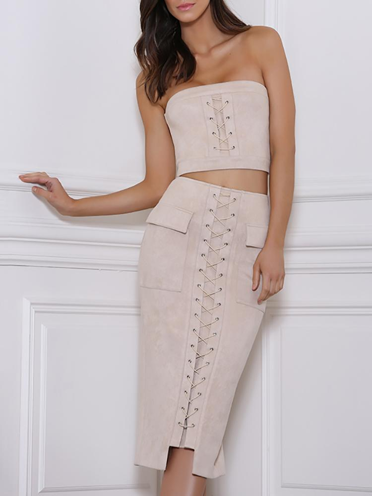 Sexy Tube Cropped Lace Up Skirt Set