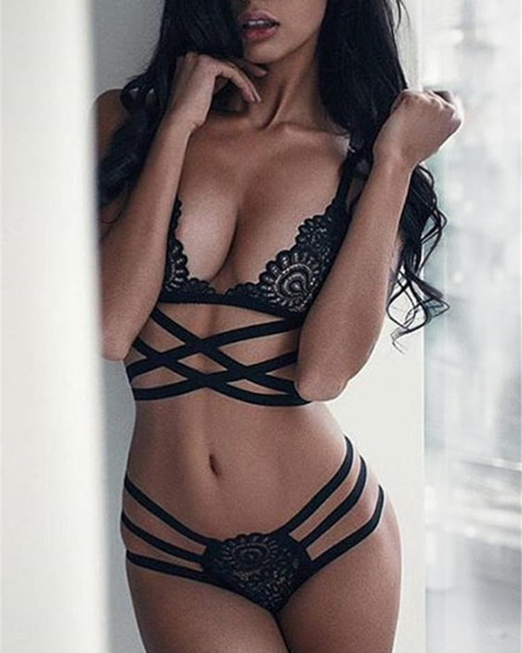 Joyshoetique coupon: Black Lace Detail Criss-cross Lingerie Bra Set