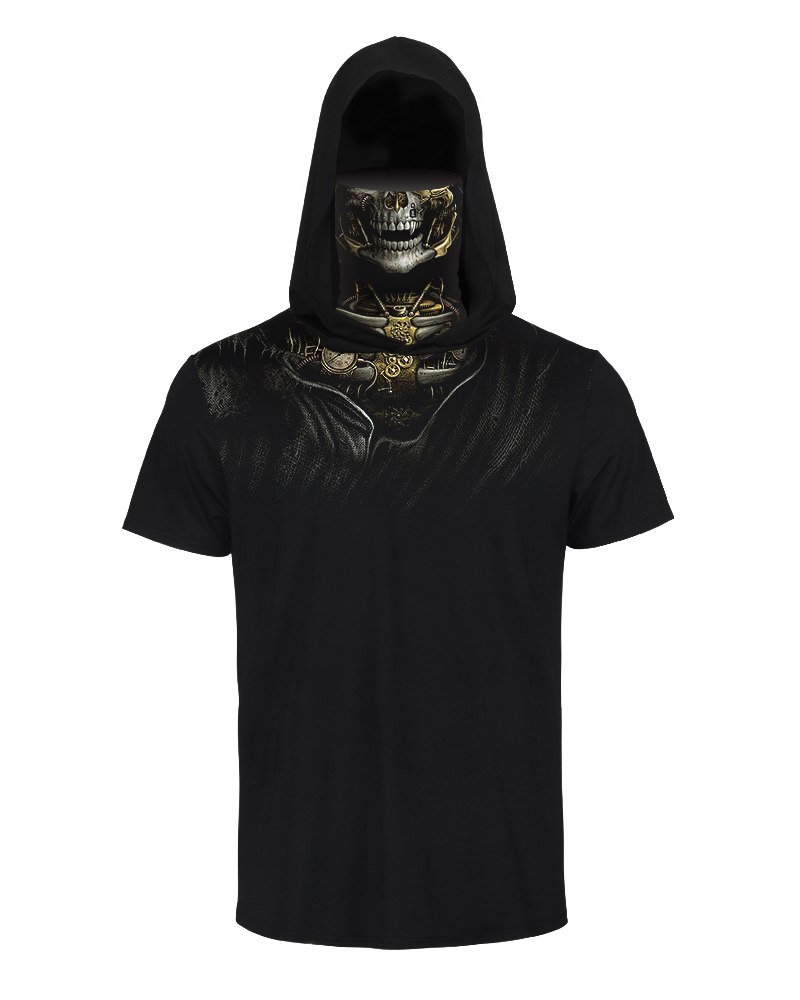 Skull Print Hooded Short Sleeve T-shirt With Ear Loop Face Bandana thumbnail