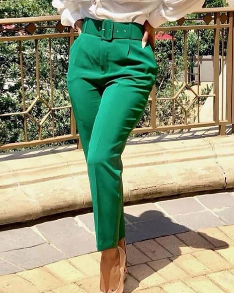 Pocket Design Solid Tailored Pants thumbnail