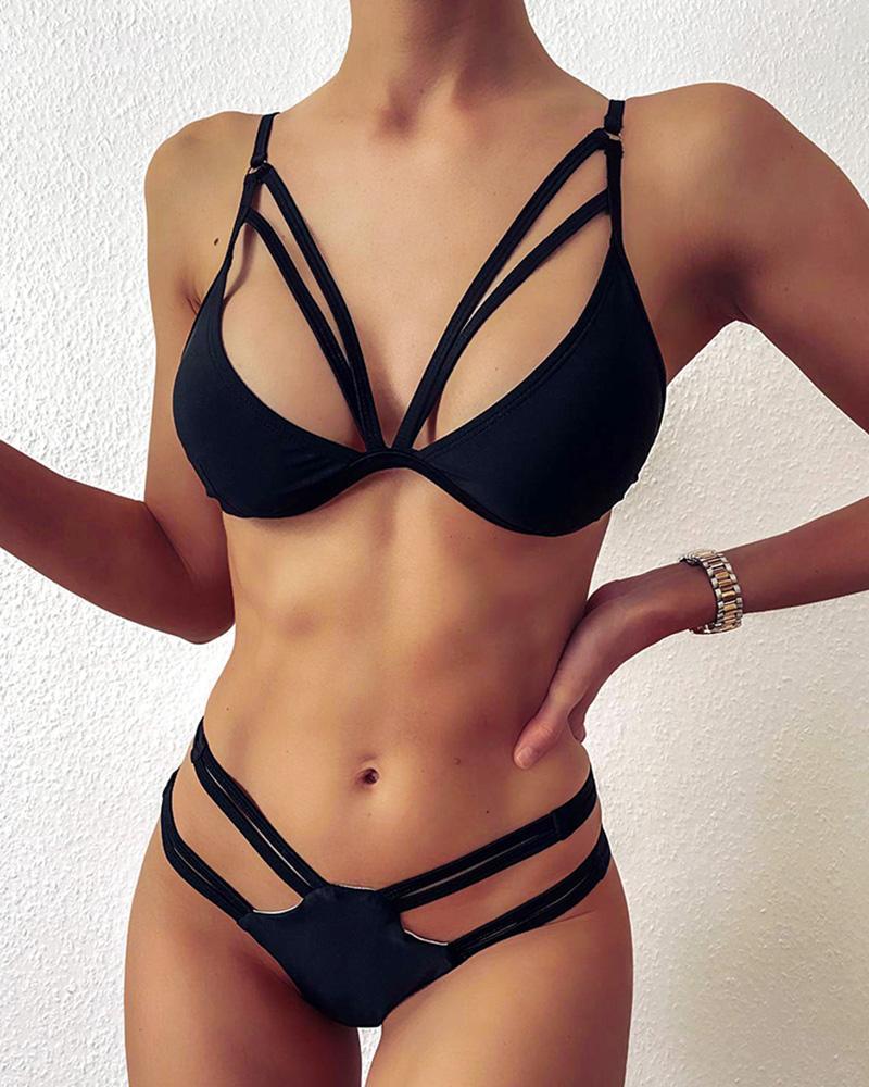 Cutout Plain Spaghetti Strap Bikini Set