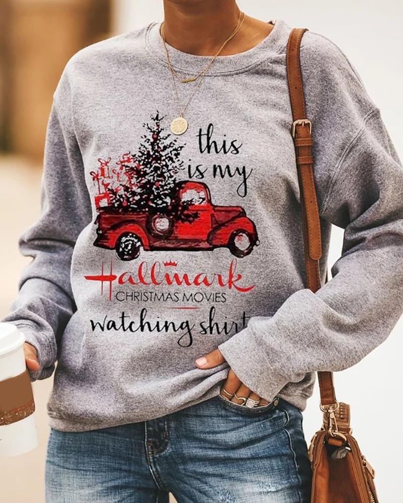 Christmas Letter Car Print Long Sleeve Casual Sweatshirt