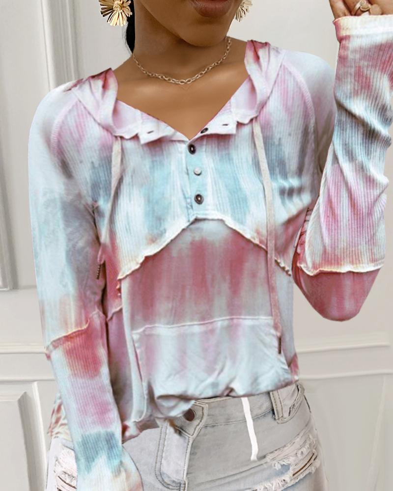 Tie Dye Print Button Design Hoodies thumbnail