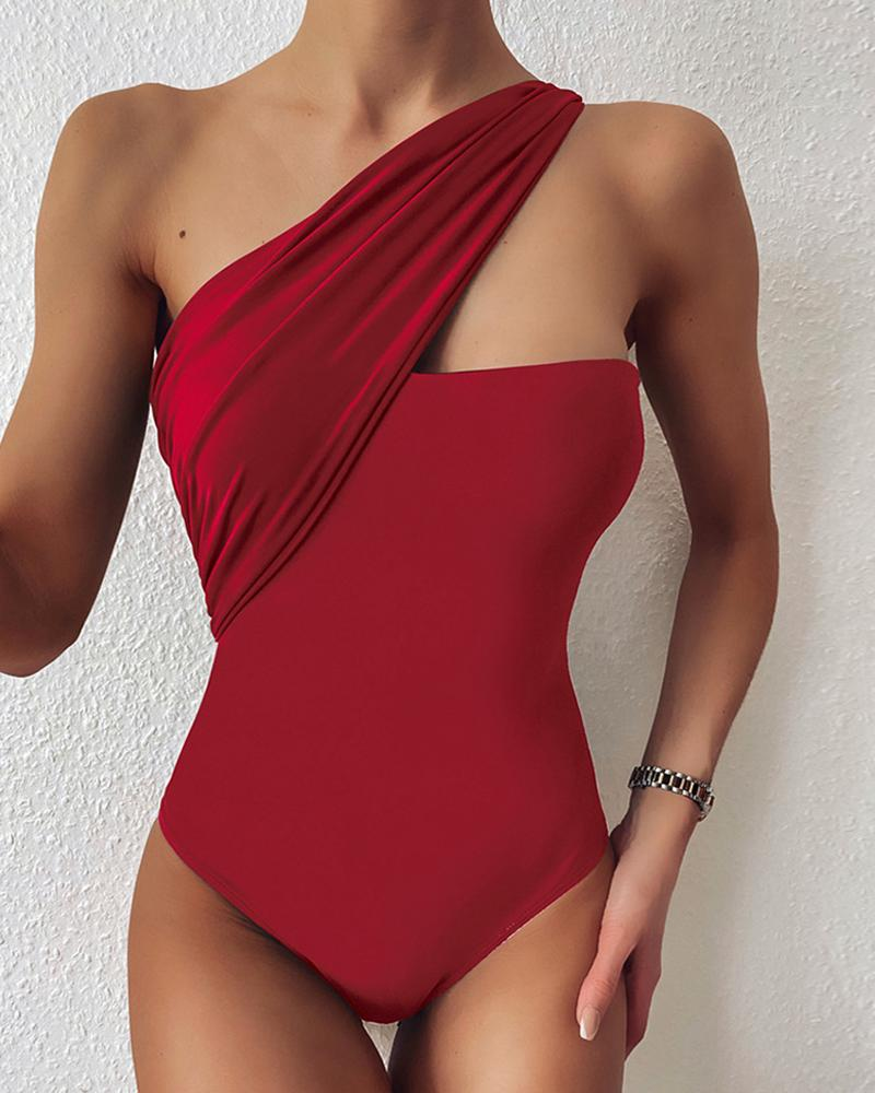 One Shoulder Plain One Piece Swimsuit