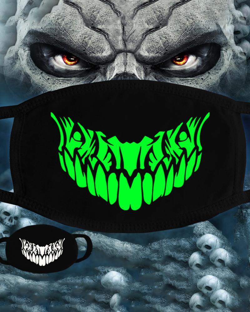 Skull Pattern Print Ear Loop Luminous Mouth Mask thumbnail
