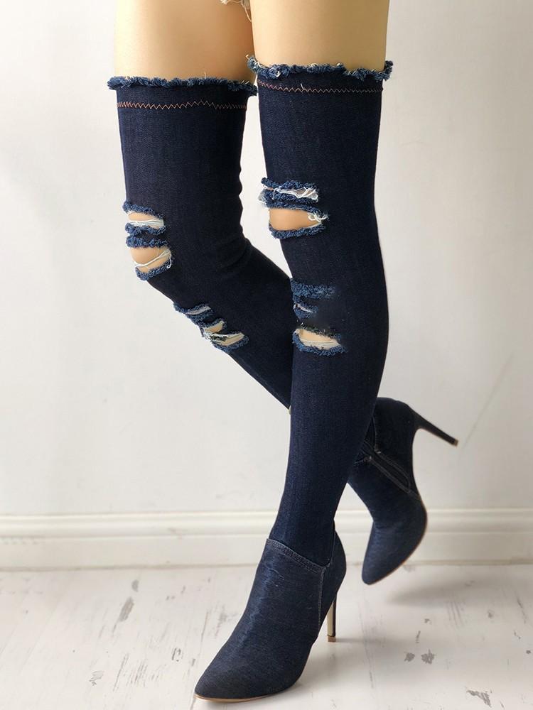 boutiquefeel / Denim Knee-High Side Zipper Ripped Thin Heel Boots