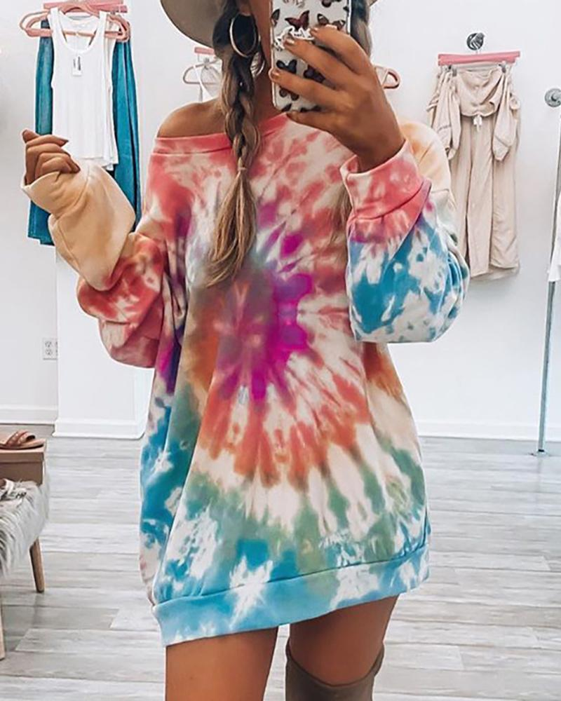 Tie Dye Print Long Sleeve Casual Top thumbnail