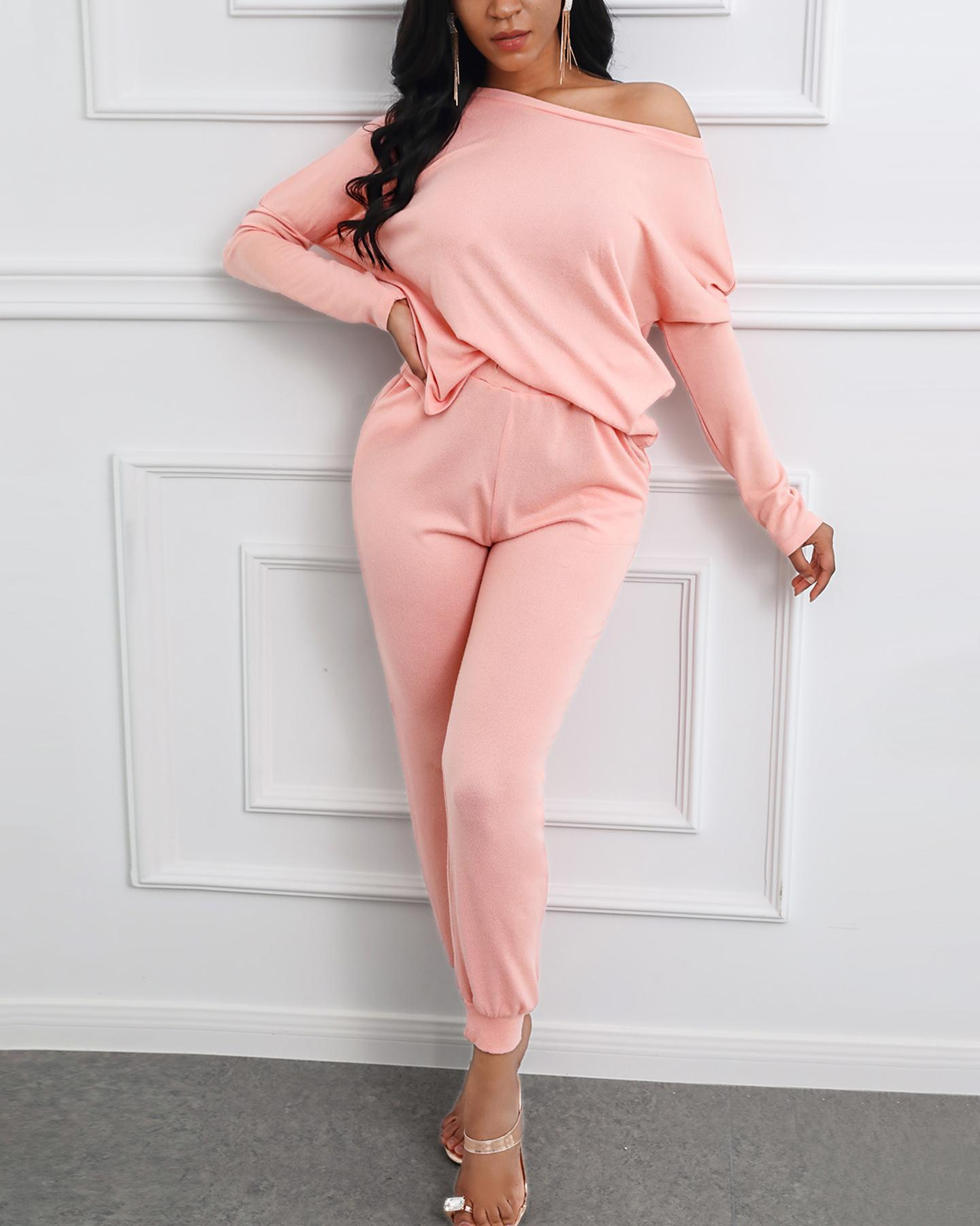 Solid Long Sleeve Top & Drawstring Casual Pants Set thumbnail