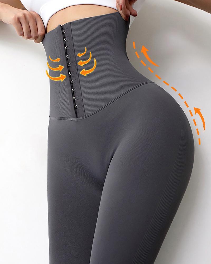 Letter Print High Waist Corset  Scrunch Butt Leggings Tummy Control Yoga Pants