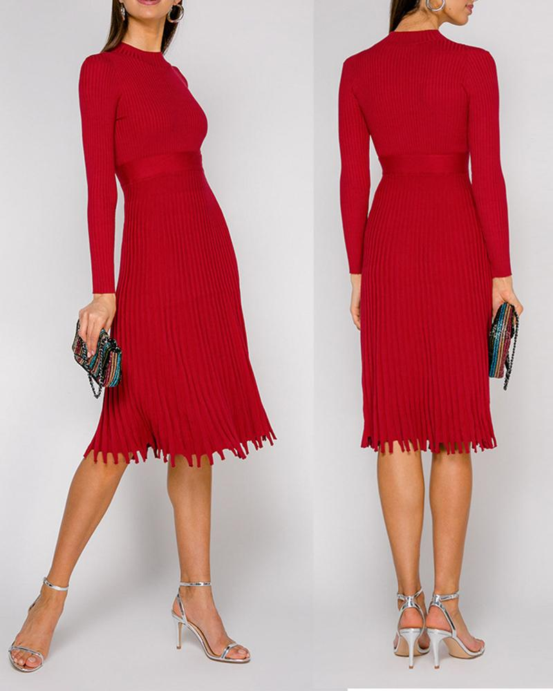 Long Sleeve Knit Ruched Long Sleeve Dress thumbnail