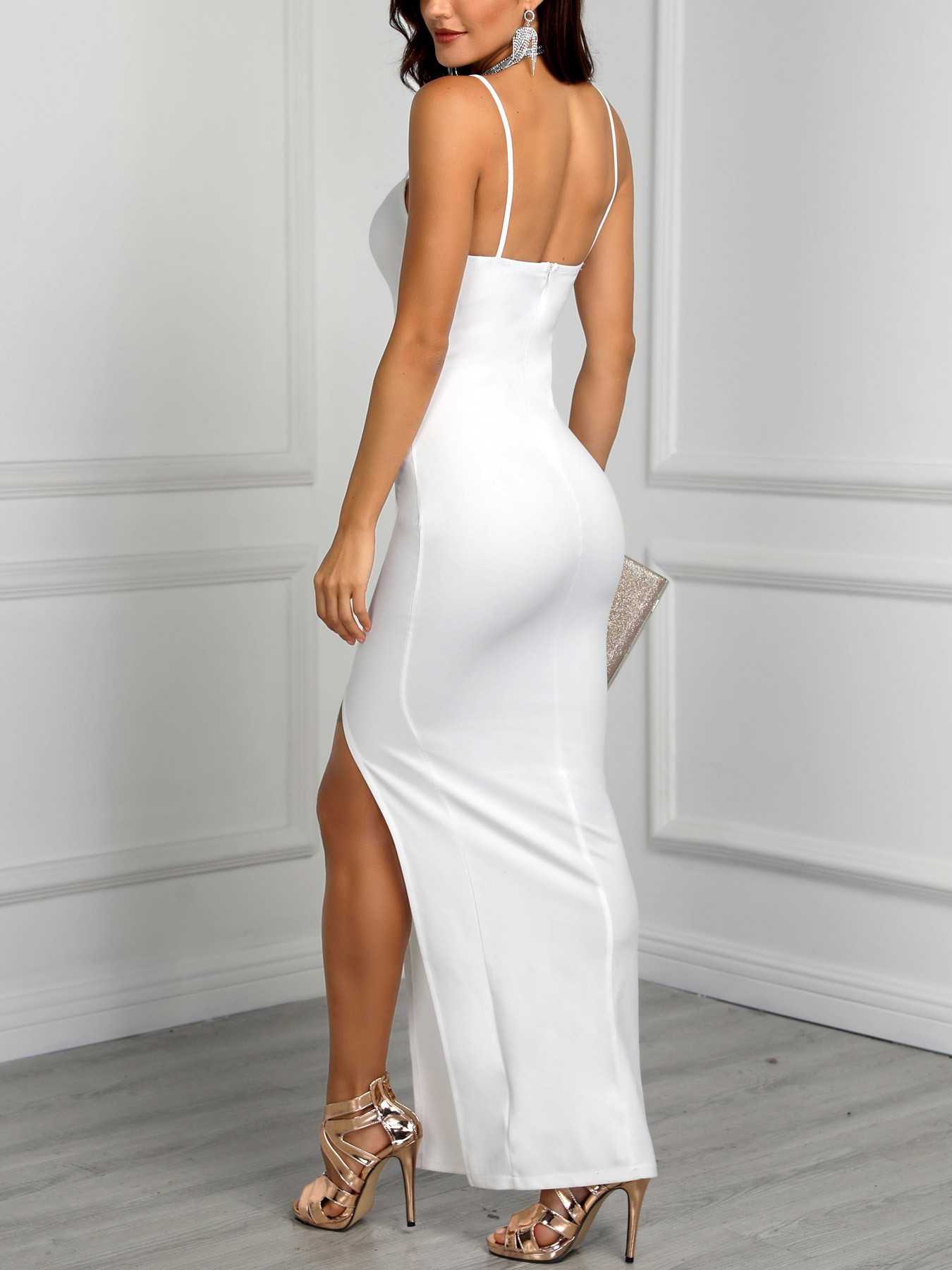 boutiquefeel / Spaghetti Strap Ruched High Slit Evening Dress