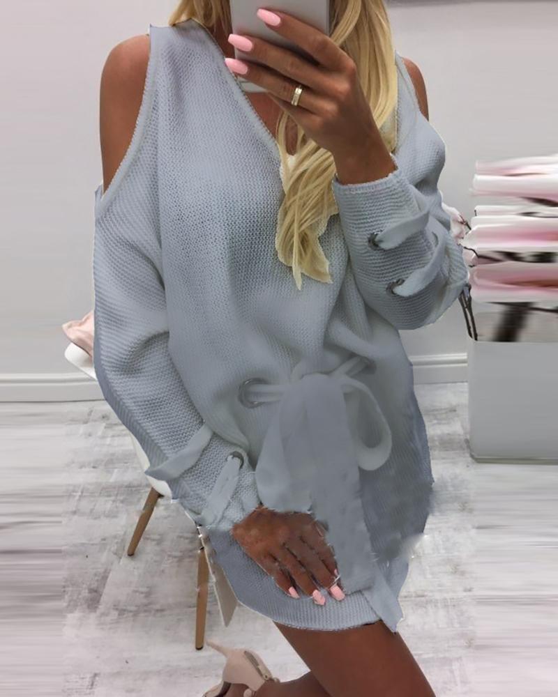 Cold Shoulder Slit Eyelet Lace-up Dress thumbnail