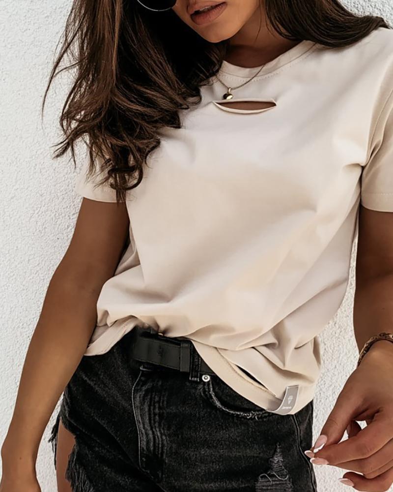 Cut Out Design Short Sleeve Casual T-shirt thumbnail