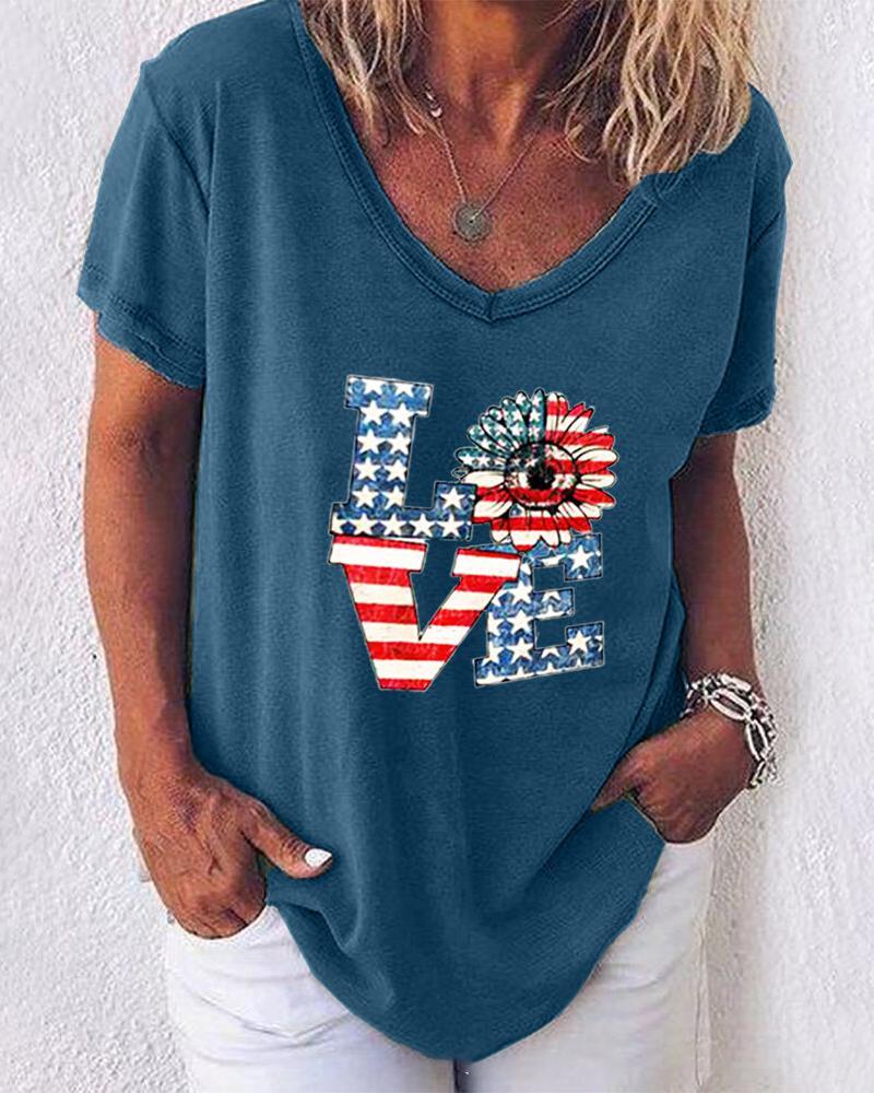 Print V Neck Short Sleeve T-shirt thumbnail