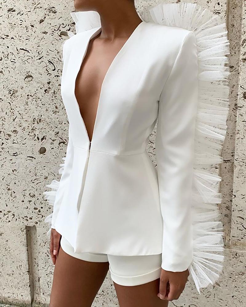 Mesh Decor Ruffles Blazer Coat & Solid Shorts Sets thumbnail