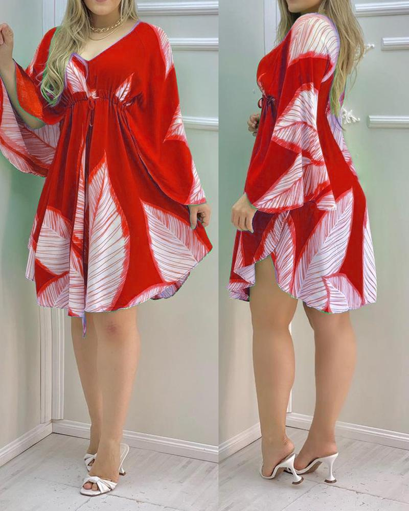 Cape Sleeve Leaves Print Ruched Dress, chicme, red  - buy with discount