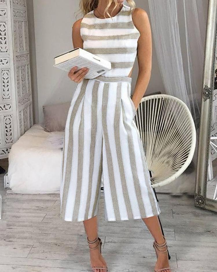 Ivrose coupon: Striped Cutout Waist Wide Leg Jumpsuit