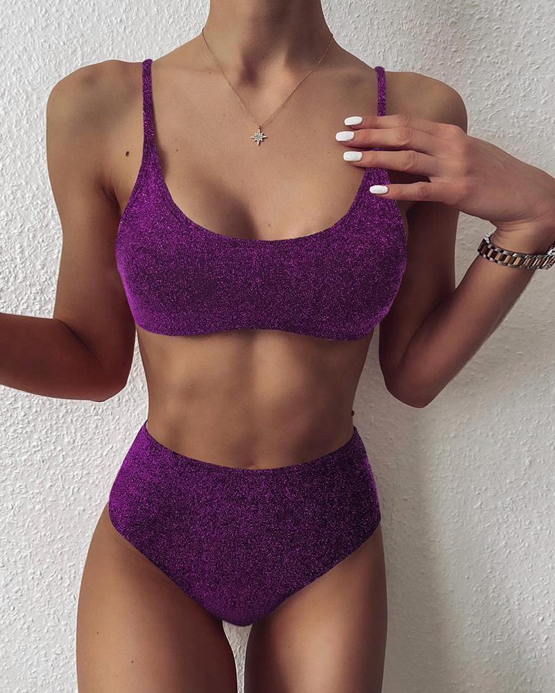 Glitter High Wiast Padded Bikini Set thumbnail