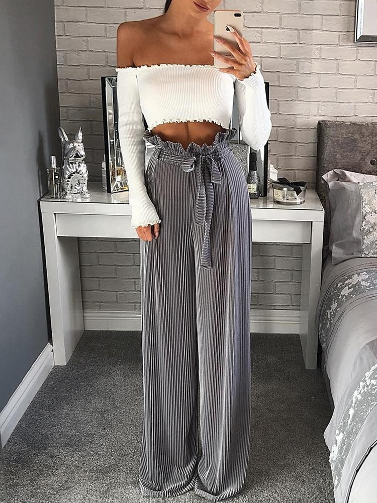 Velvet Frills High Waist Belted Casual Pants