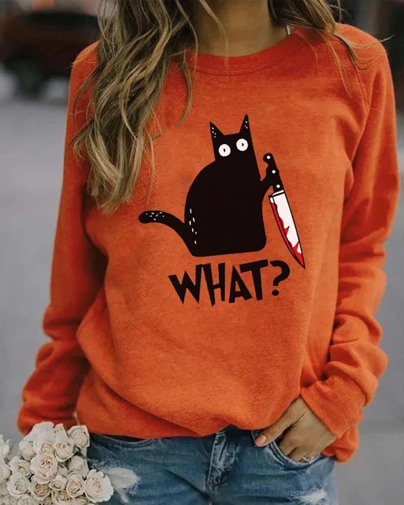 Halloween Letter Cat Print Casual Sweatshirt thumbnail