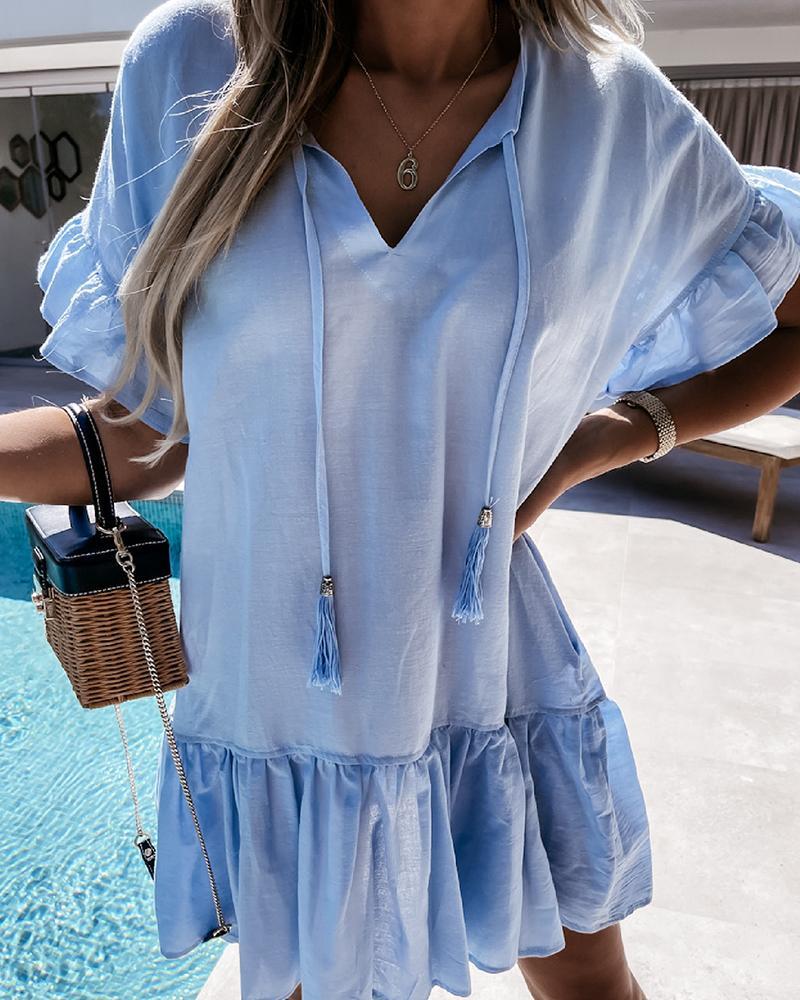 Solid Color Ruffle Hem Short Sleeve Mini Dress, Blue