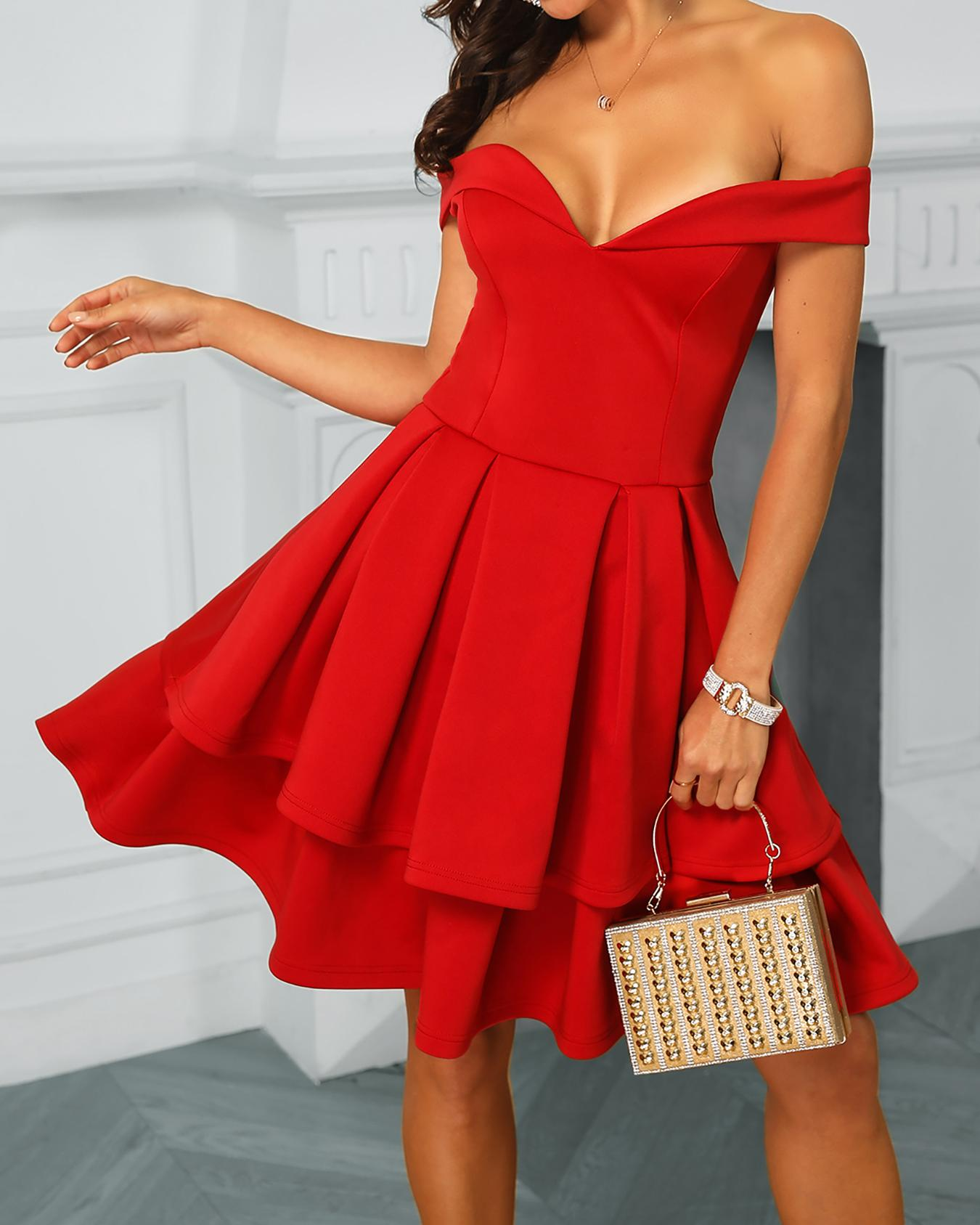 Off Shoulder Layered Ruffles Irregular Dress