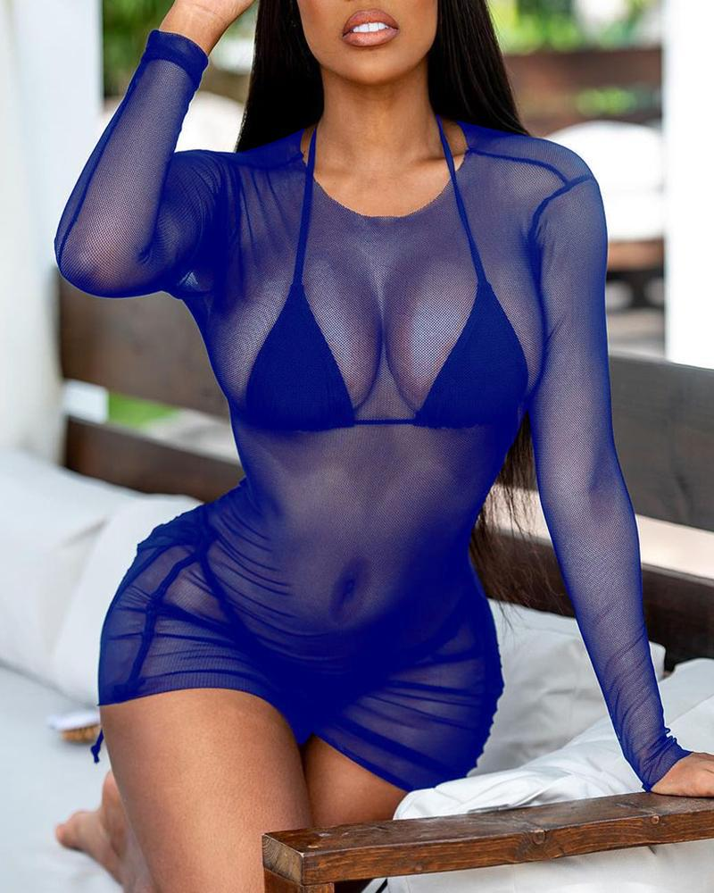 Ruched Sheer Mesh Bodycon Dress
