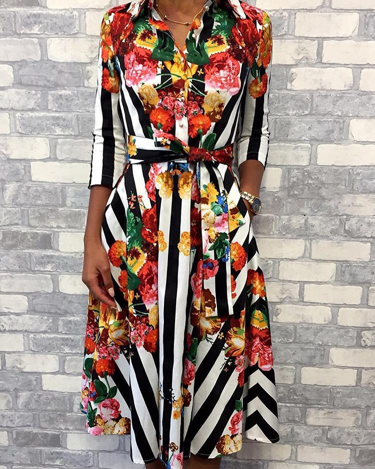 Floral & Striped Print Half Sleeve Shirt Dress