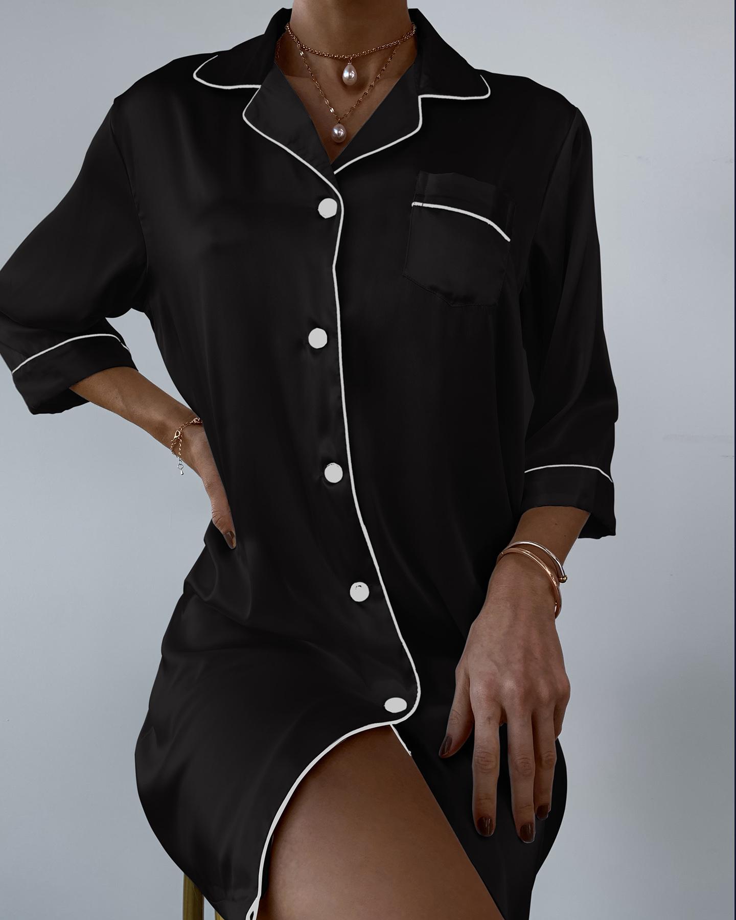 Pocket Design Button Down Satin Nightgown thumbnail