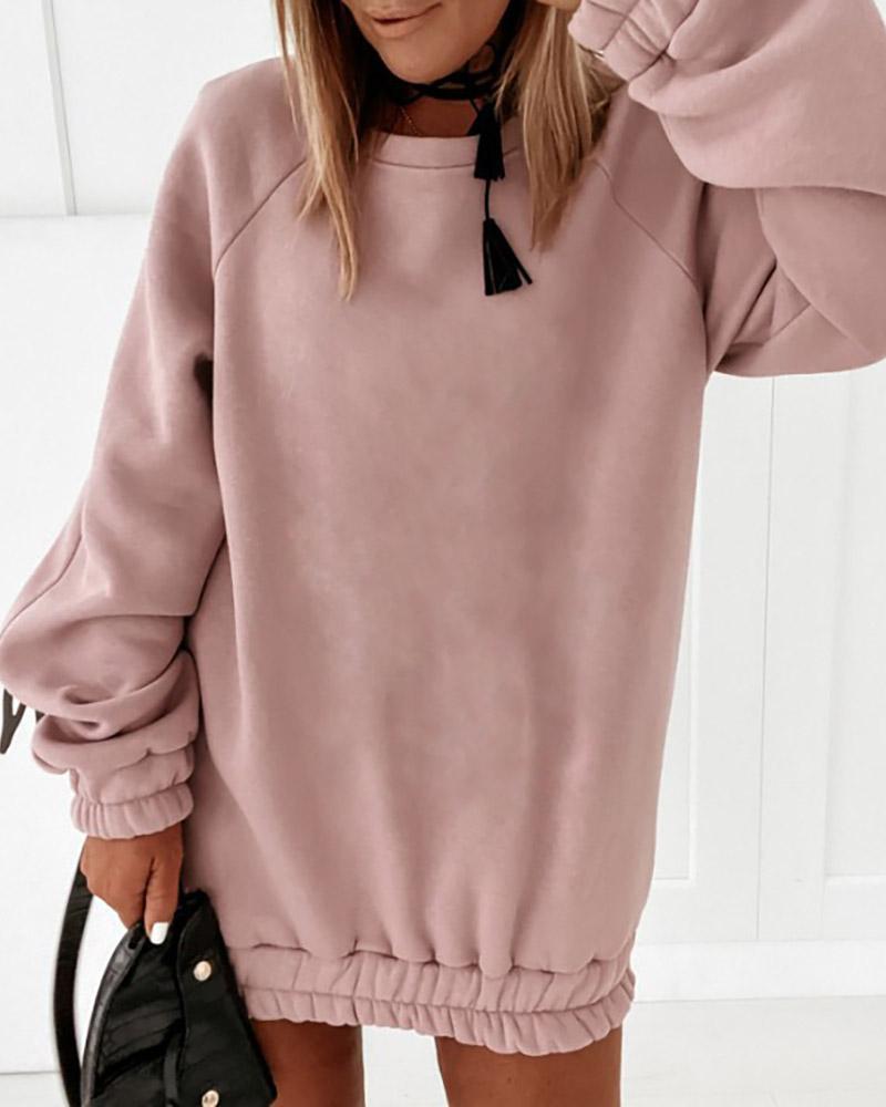 Plain Ruched Long Sleeve Casual Sweatshirt Dress