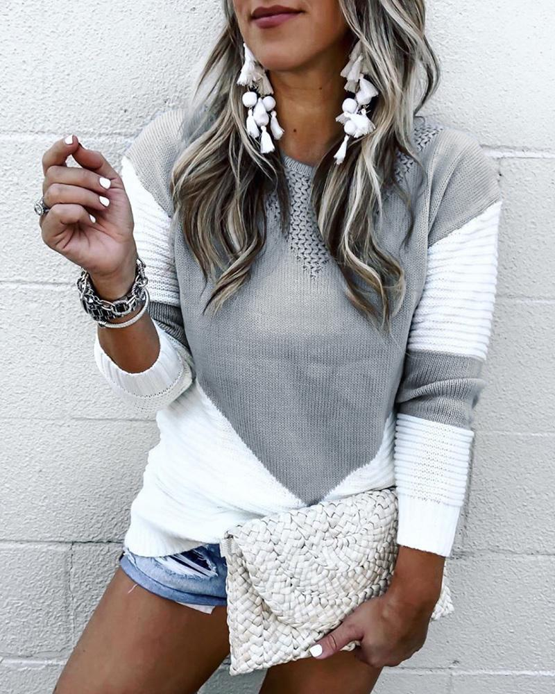 Colorblock Long Sleeve Knit Casual Sweater thumbnail