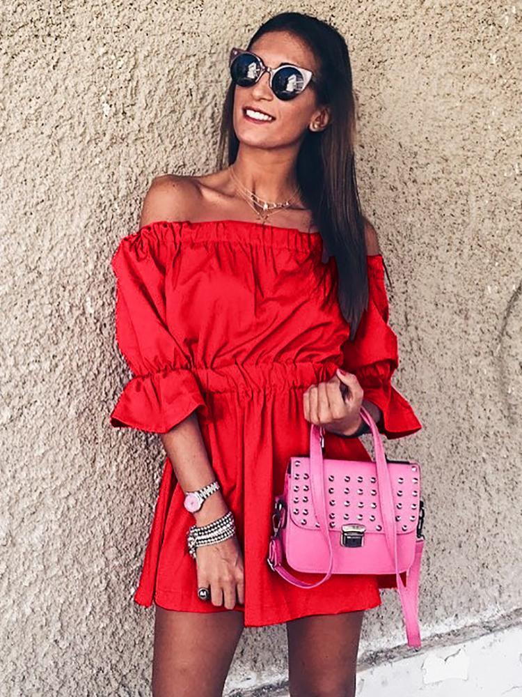 Stylish Pleated Off Shoulder Bubble Sleeve Mini Dress