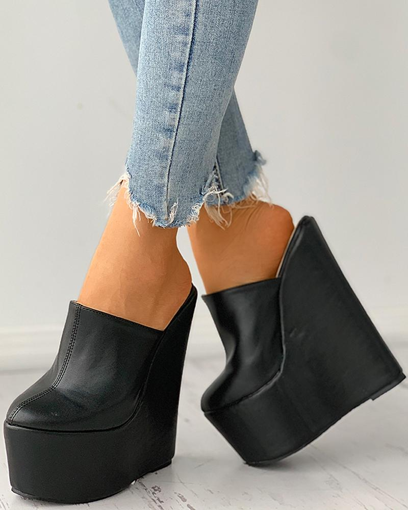 Pointed Toe Platform Wedges Shoes